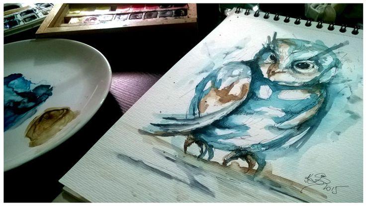 Akvarelový obraz sovy, originál