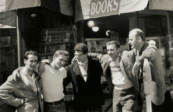Bob Donlin, Neal Cassady, Allen Ginsberg, Robert LaVigne, and Lawrence Ferlinghetti in front of the City Lights bookstore in San Francisco (© Allen Ginsberg/Corbis)