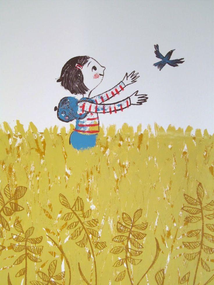 Lily free as a bird, screen print Lisa Stubbs