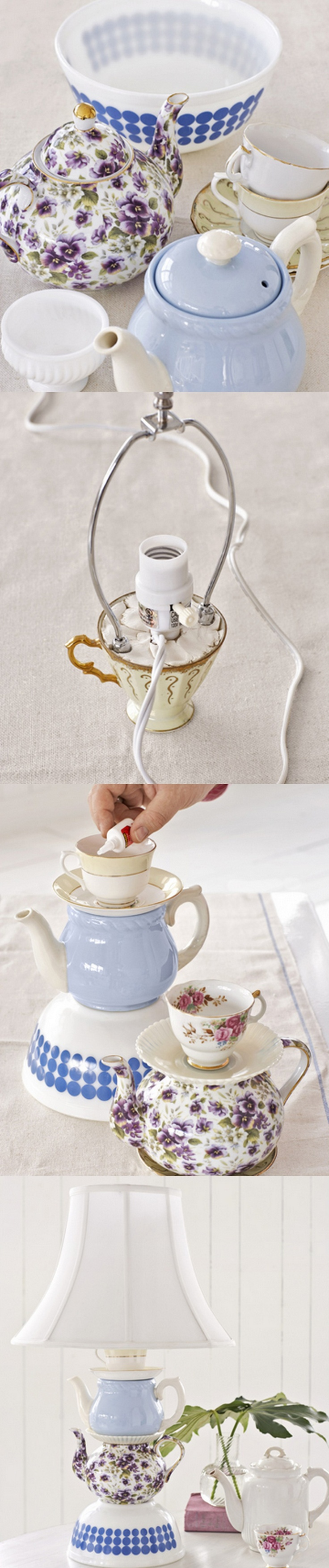 HOW TO MAKE A TEAPOT LAMP:  Read more:   http://www.countryliving.com/crafts/teapot-lamp-project-0409#slide-1