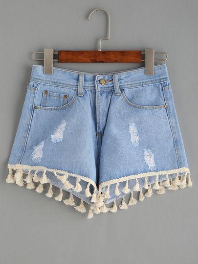 Shorts denim con rotos bajo flecos -azul