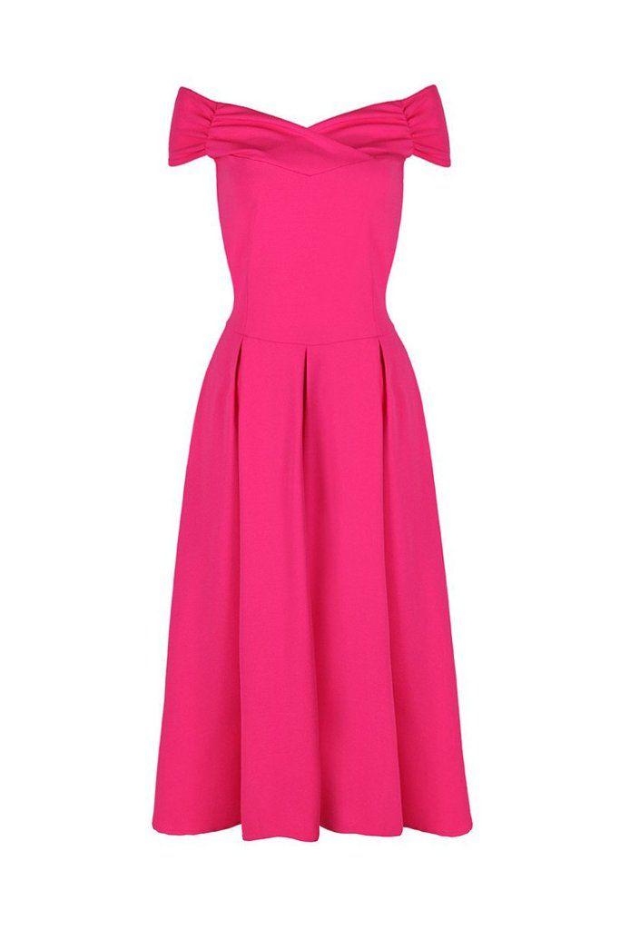 Hot Pink Crossover Bardot 50s Swing Dress