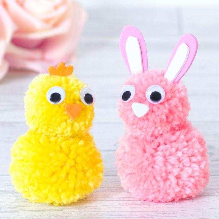 Bricolage express pour enfants : des animaux en pompons pour Pâques