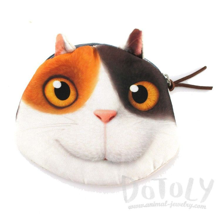 Dreamworks Home Calico Kitty Cat Face Shaped Coin Purse Make Up Bag