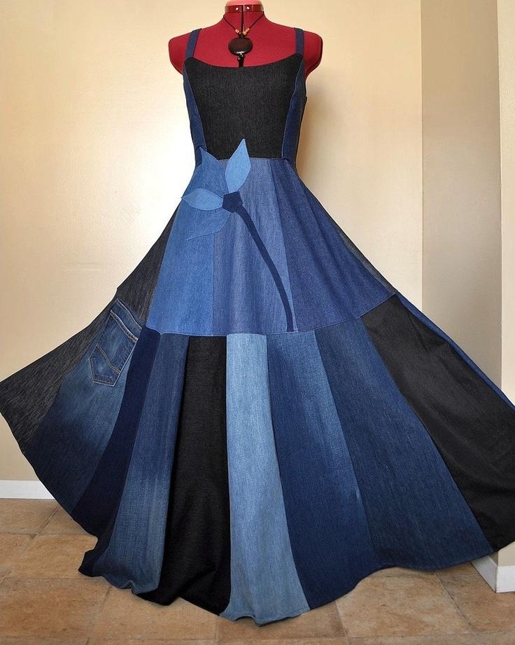 Long Patchwork Denim Dress, Ooak bohemian gypsy dress, $170.00, via Etsy.