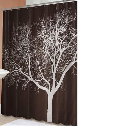 I have this shower curtain and it's so cute. I have bird wall decals on the wall that are flying towards the tree. Shower curtain is from Target.