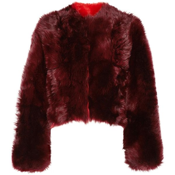 CALVIN KLEIN 205W39NYC Overized cropped alpaca coat ($2,675) ❤ liked on Polyvore featuring outerwear, coats, jackets, calvin klein, cropped coat, alpaca coat, red slip, alpaca wool coat and red coat