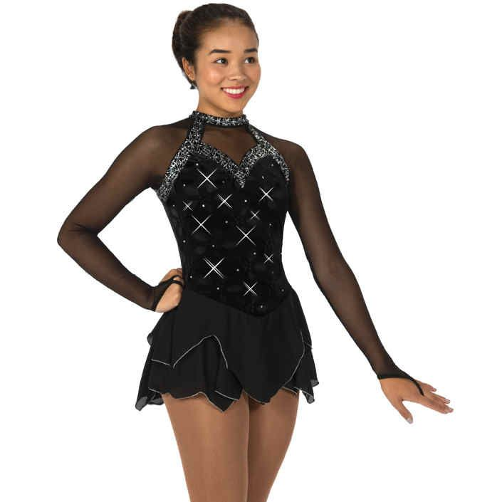 Jerrys Enigmatic Figure Skating Dress New ladies competition figure skating dresses from Jerrys Jerrys Enigmatic Figure Skating Dresskatewear for 2018! This adult ice skating dress is the epitome of elegance - black velvet combined with sheer mesh sleeves, silver glitter trim, a double layer tulip skirt edged in silver and a scattering of sparkly crystals front and back.
