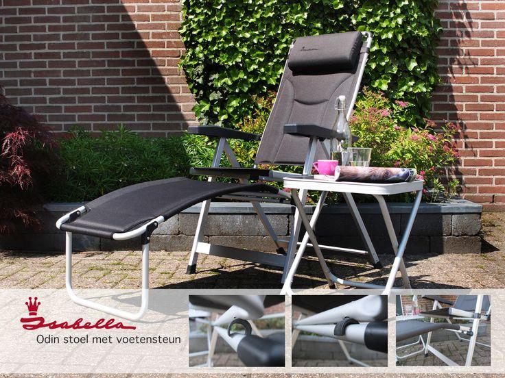 Odin tuinstoel met voetsteun. De comfortabele en stijlvolle stoel die met behulp van de voetsteun in een handomdraai om te toveren is in een heerlijke relax/ligstoel  #stoel #ligstoel #tuin #meubels #kamperen #camping #comfortabel