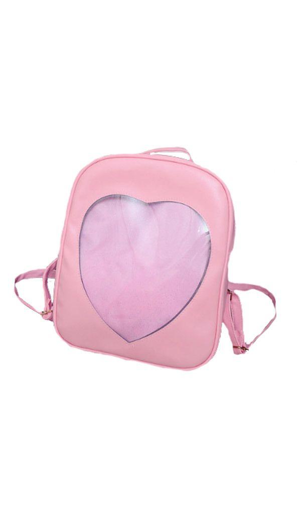 Cute ita bag pink transparent heart backpack  ffb28332f212e