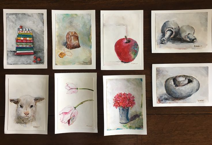 Postcard paintings, acrylic on paper.