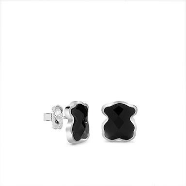 Silver onyx dream catcher earrings