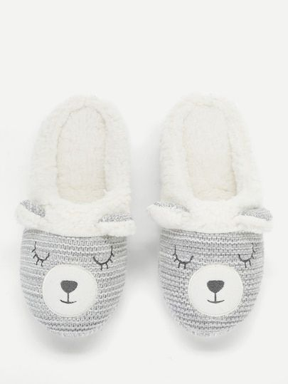 d008491ecd8 Cartoon Design Flat Slippers -SheIn(Sheinside)