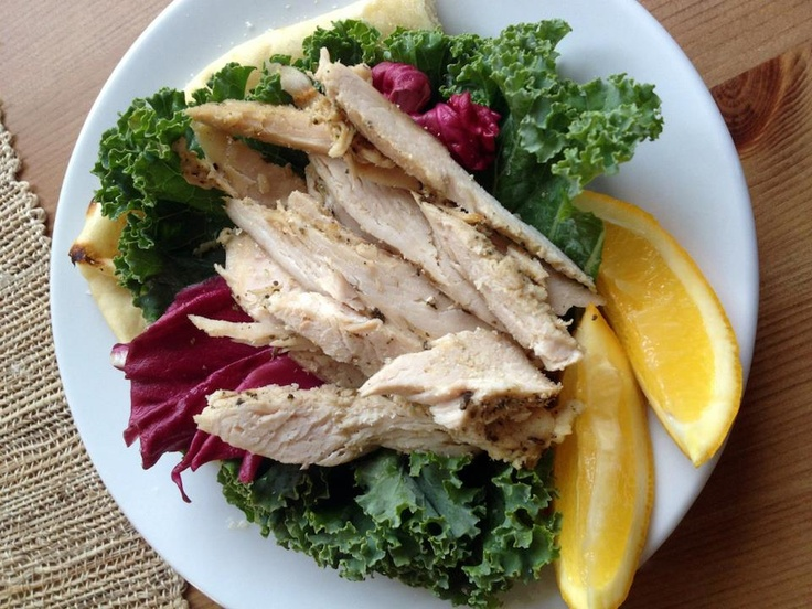 Sage chicken on garlic naan bread with blanched kale, radicchio and lemon juice. From BreastHealthOnline's Healing Diet. It's enough to make you want to have breast surgery just for the food, isn't it?