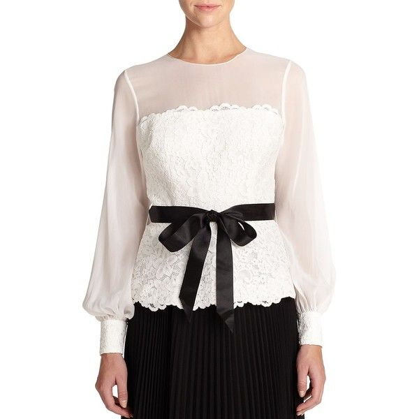 Lace Chiffon Blouse Finished with a contrasting ribbon belt, sheer chiffon yoke and sleeves complement a lace bodice and cuffs on this elegant blouse. Jewelnec…