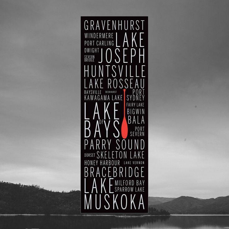Art poster featuring the names of prominent and historic lakes and villages in the Muskoka region of Ontario. Great gift idea for men, or decoration for a condo, apartment or man-cave!