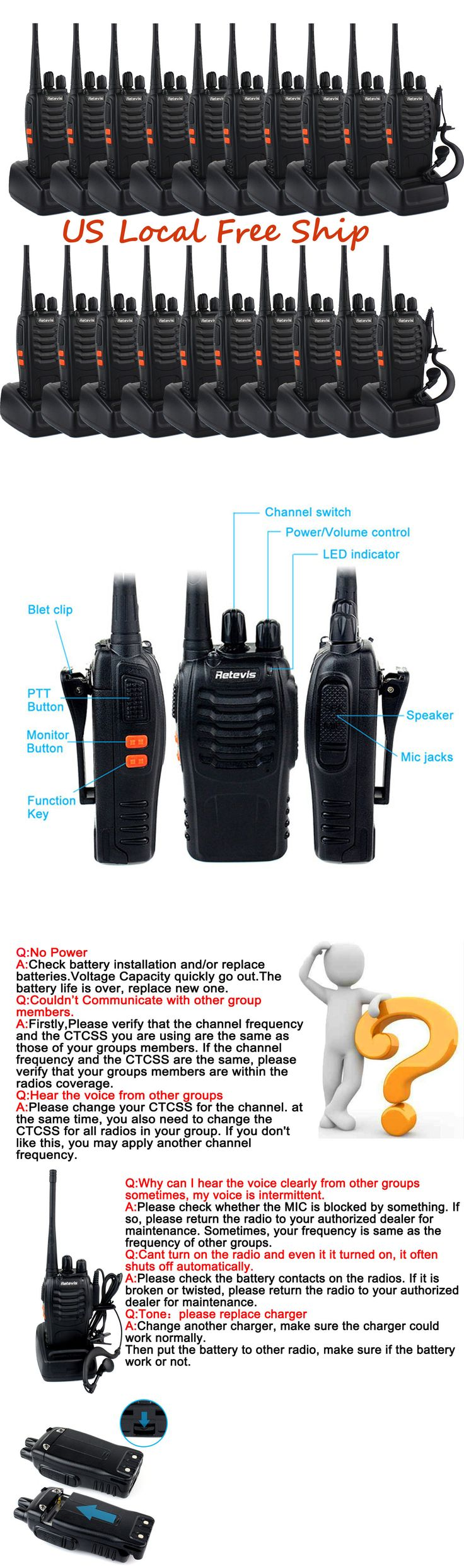 Walkie Talkies Two-Way Radios: 20Pc Retevis H-777 Walkie Talkie Uhf: 400-470Mhz 16Ch 5W Two-Way Radio Us Stock -> BUY IT NOW ONLY: $216.19 on eBay!