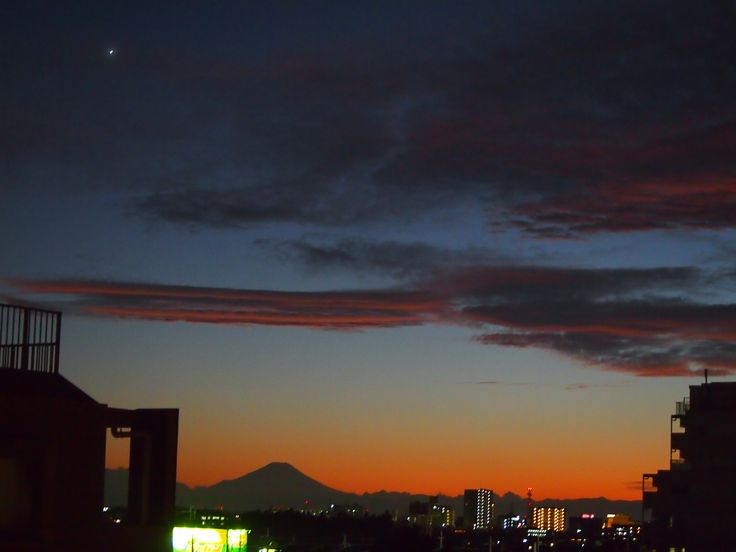 the first star of evening&Mt.Fuji.