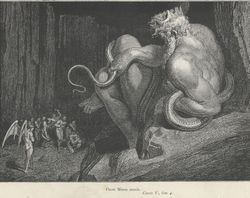 Minos, illustration by Gustave Doré for Dante Alighieri's Inferno.