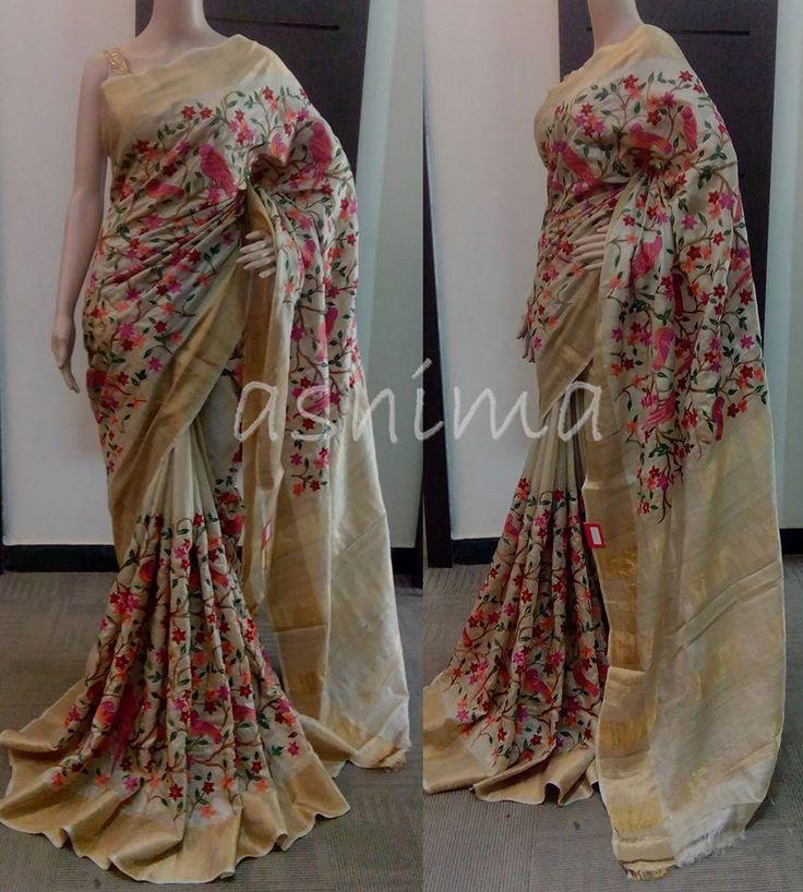 Code:3112154 - Embroidered Tusser Silk Saree Price INR:9145/-
