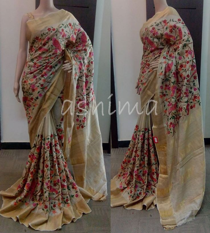 Code:3112154 - Embroidered Tusser Silk Saree Price INR:8890