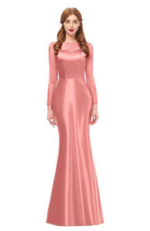 eb178eb736fa ColsBM Kenzie Peach Blossom Bridesmaid Dresses Trumpet Lace Bateau Long Sleeve  Floor Length Mature