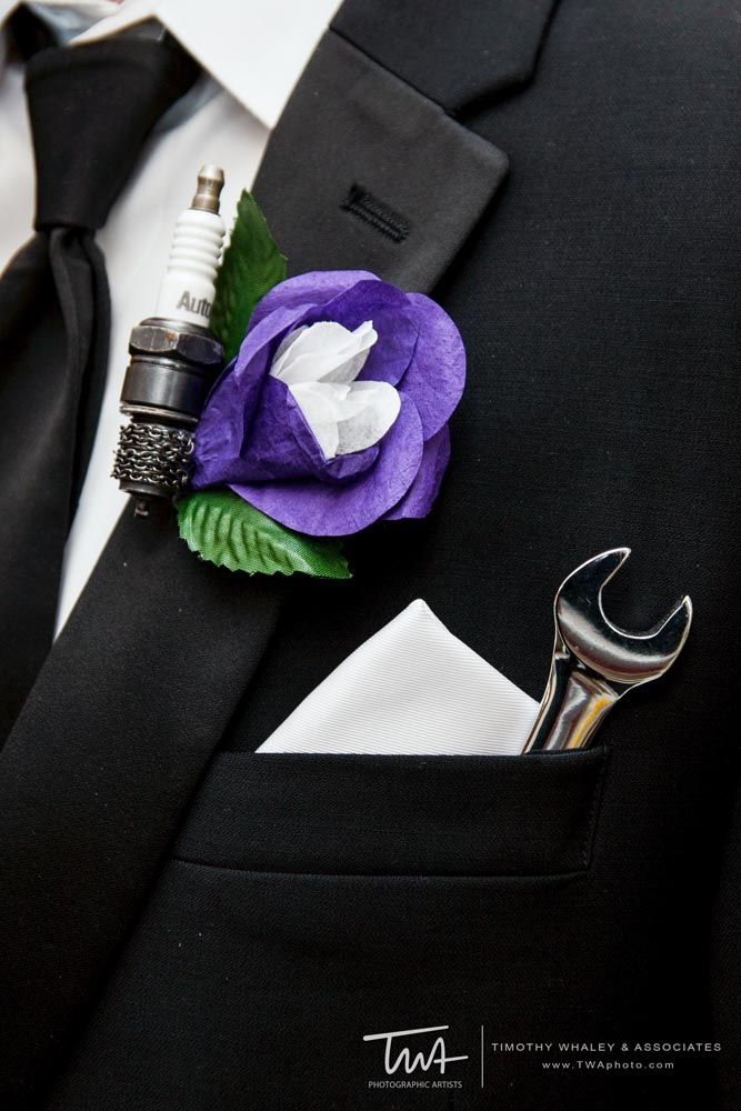 Spark plug and wrench for those handy grooms. Sassy twist for your guy's boutonniere!