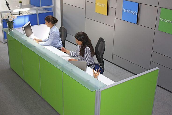 Recepci n l nea cristal muebles para oficina for Muebles oficina cristal