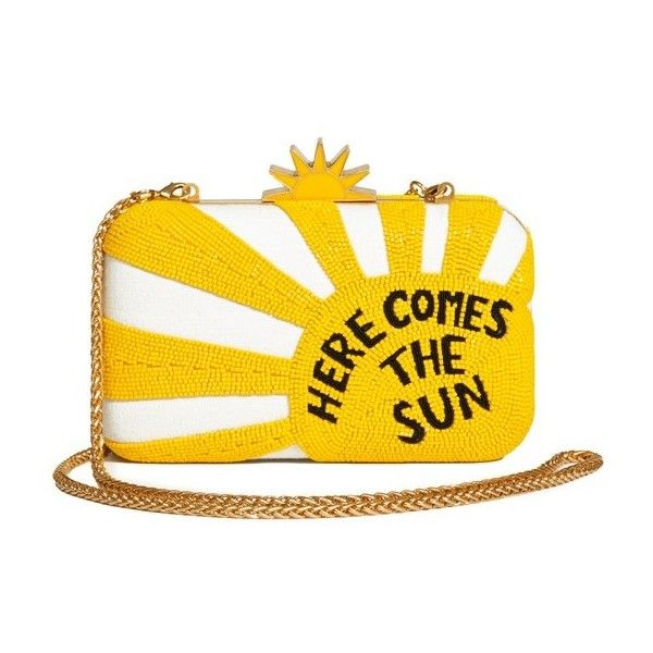 Alice + Olivia Ao X The Beatles Here Comes Sun Clutch (11.237.485 VND) ❤ liked on Polyvore featuring bags, handbags, clutches, natural, yellow purse, clasp purse, yellow handbags, beaded purse and beaded handbags