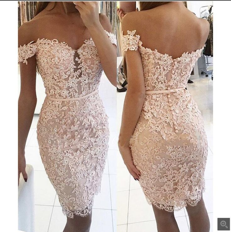 2017 real picture light pink lace short sheath prom dress off the shoulder beading appliques petite prom gowns hot sale
