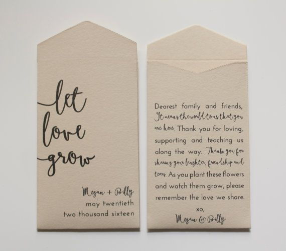 Tan Let Love Grow Custom Seed Packet Wedding Favors by Megmichelle