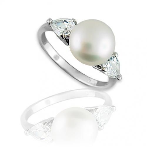 Sterling Silver Freshwater Pearl CZ Teardrop Ring