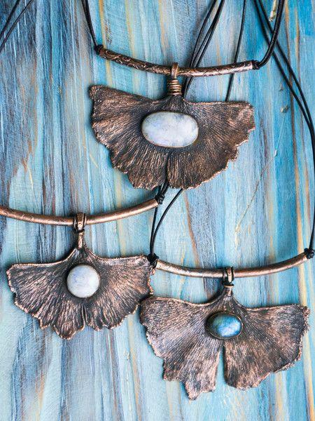Ginkgo copper leaf pendant - Bohemian real leaf jewelry by MoonDome
