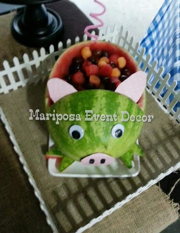 Farm Baby Shower over at  https://www.facebook.com/mariposaeventdecor Farm, Horse, baby shower, diaper cake, pig watermelon