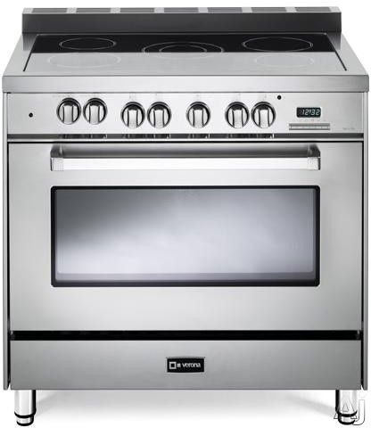 Verona VEFSEE365 36 Inch Freestanding Electric Range with 5 Cooktop Heat Zones, 4.0 cu. ft. Convection Oven, 2 Heavy Duty Racks, Digital Clock/Timer and Lower Storage Compartment $2699
