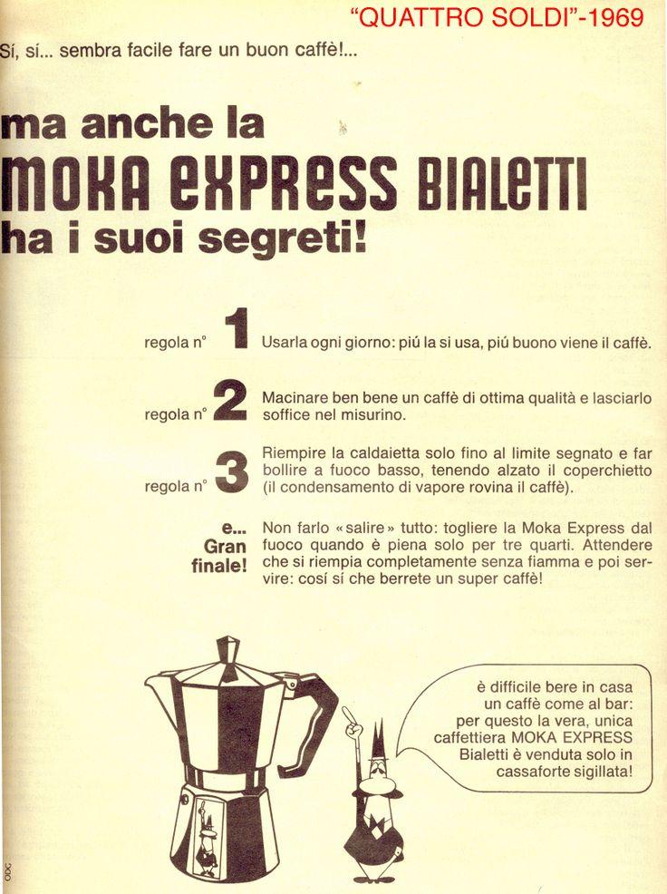Sì, sì… sembra facile fare un buon caffè! Quattro segreti sulla #MokaEspress per una aroma come al bar. (Quattro soldi, 1969)