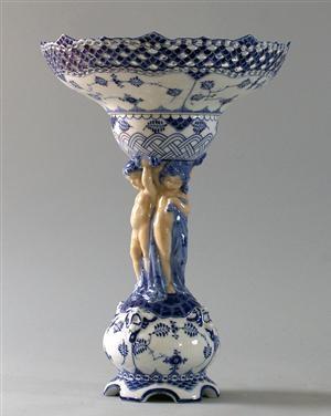 Royal Copenhagen, decorative bowl, Blue Fluted Pattern, Full Lace