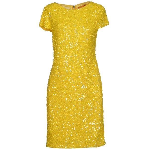 Alice+Olivia Knee-Length Dress ($465) ❤ liked on Polyvore featuring dresses, yellow, zip dress, sequin dress, short sleeve dress, knee-length dresses and yellow sequin dress