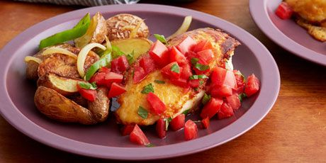 Parmesan Crusted Chicken Breasts with Tomato and Basil and Potatoes with Peppers and Onions