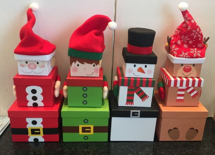 Novelty Santa Elf Reindeer Stacking Boxes Tower Of Treat