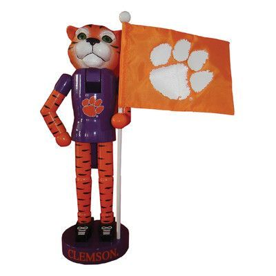 Santa's Workshop Clemson Mascot and Flag Nutcracker