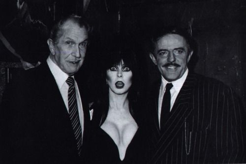 Vincent Price, Elvira, and John Astin