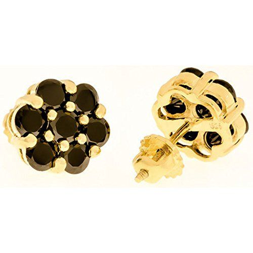 10mm - 14k Yellow Gold Plated over Solid 925 Sterling Silver Black CZ Flower Earrings Thug Fashion Collection http://www.amazon.com/dp/B00GJ9WU4K/ref=cm_sw_r_pi_dp_oF6Uub1HYM5TH