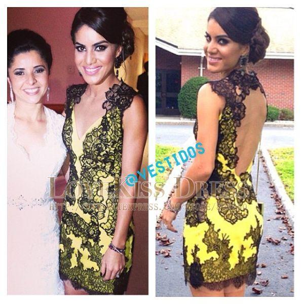 2014 Sexy Vestidos De Fiesta V Neck Sleeveless Black Lace Yellow Sheath Short Cocktail Dress DYQ518