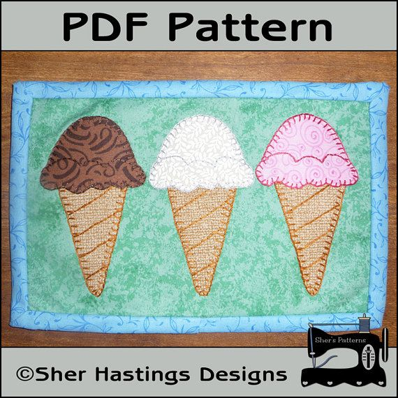 16 best ice cream cones images on pinterest ice cream cones paper pdf pattern for ice cream cone mug rug ice cream mug rug pattern dessert mini quilt pattern sewing pattern tutorial diy ccuart Choice Image
