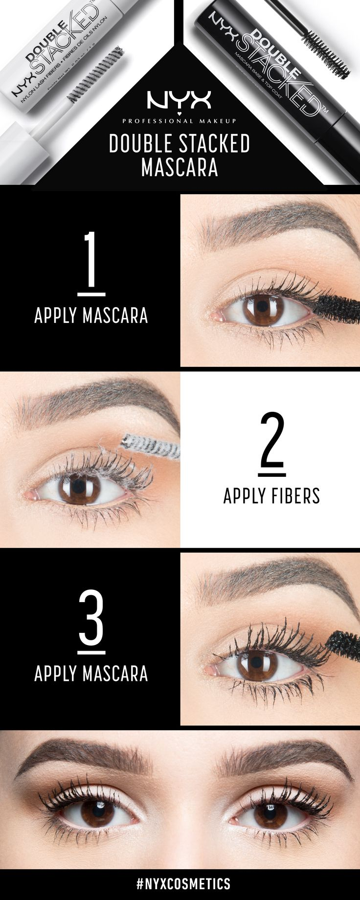 Stack em' up! Step by step on how to achieve perfect lashes with NYX Cosmetics 'Double Stacked Mascara!'