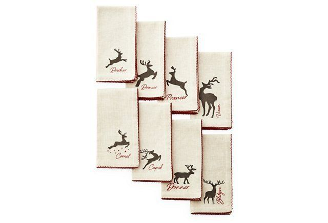 S/8 Reindeer Napkins, Face to Face