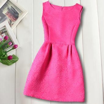 Color puro Chicas vestirse Verano Marca Niños Vestidos Princesa Disfraz Moda bordado indumentaria Adolescente Ropa niños Vestir Niñas Casual trajes - Rosa roja