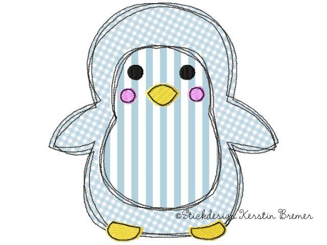 Pinguin Doodle Stickmuster für eine Stickmaschine. Doodle penguin appliqué embroidery design for embroidery machines.