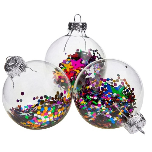 Bright Glass Baubles with sequins | Poundland